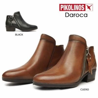 ピコリノス ショートブーツ レディース ジップアップ W1U-8590 PK793 ローヒール レザー PIKOLINOS Daroca