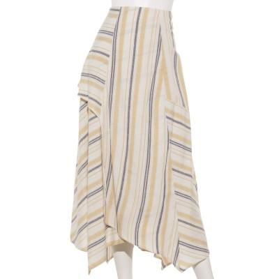 【Marie Hill】マルチストライプランダムヘムスカート
