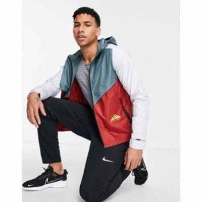 ナイキ Nike Running メンズ ジャケット アウター Nike Runnning Trail windrunner jacket in blue and red マルチカラー