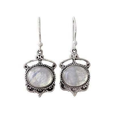 NOVICA Oval Rainbow Moonstone .925 Sterling Silver Dangle Earrings, Moonlit Decadence'【並行輸入品】