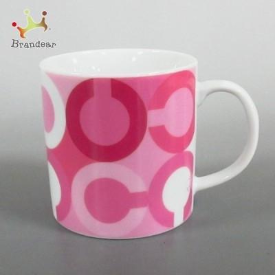 コーチ COACH マグカップ 新品同様 - ピンク×ライトピンク×白 オプアート/ノベルティ 陶器 新着 20210302