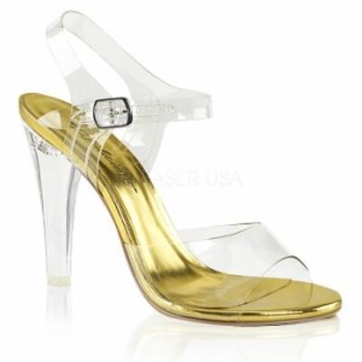 取寄 靴 送料無料 ベルト付き 薄厚底 サンダル 11.5cmヒール クリア 金 ゴールド 大きいサイズあり イベント 仮装 女装 男装 パーティ-