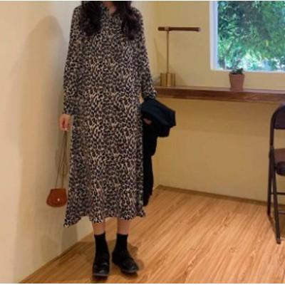 レオパード ワンピース ロング シャツワンピ 長袖 ゆったり カジュアル 韓国 オルチャン ファッション