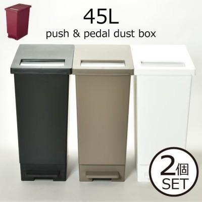 ゴミ箱 ふた付き キッチン おしゃれ 分別 袋が見えない 北欧 縦型 スリム 45リットル 足踏み式 リビング ユニード プッシュ&ペダルペール 45L 2個セット