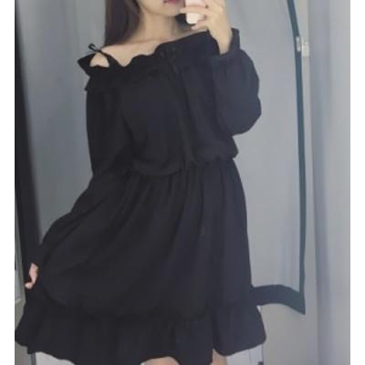 ワンピース オフショル 黒 ミニ丈 お呼ばれ きれいめ 大人 秋物 冬物 最新 レディース ファッション 2020 人気 可愛い 大人