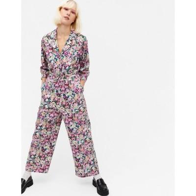 モンキ レディース ワンピース トップス Monki Marelle floral print cotton poplin waisted jumpsuit in multi Pink