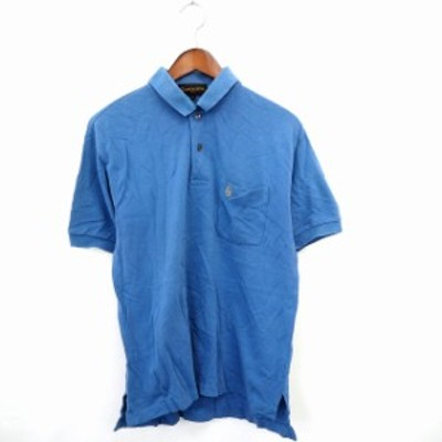 【中古】GIANNI VALENTINO シャツ カジュアル ポロシャツ ポロ ロゴ刺繍 無地 シンプル 半袖 コットン 綿 M ブルー 青