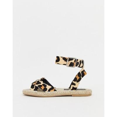 エイソス レディース サンダル シューズ ASOS DESIGN Jiana leopard espadrille sandals