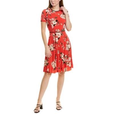 マギーロンドン ワンピース トップス レディース Maggy London Pleated A-Line Dress red and tan
