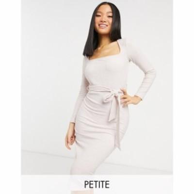 ミス セルフリッジ Miss Selfridge Petite レディース ワンピース ミドル丈 ワンピース・ドレス Knot Front Ribbed Midi Dress In Pale P