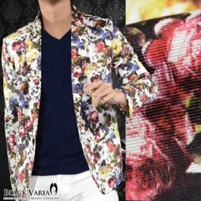 花柄ジャケット テーラード 薔薇柄 メンズ ローズ ボタニカル 1釦 ジャケット(ホワイト白レッド赤) 171201