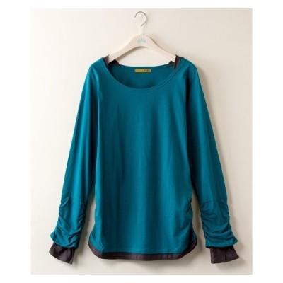 Tシャツ カットソー 大きいサイズ レディース 袖脇シャーリング フェイク レイヤード シャツ LL/3L ニッセン