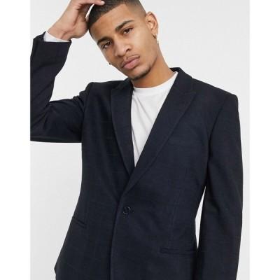 エイソス ASOS DESIGN メンズ スーツ・ジャケット アウター Skinny Suit Jacket In Twill Windowpane Check In Navy ネイビー