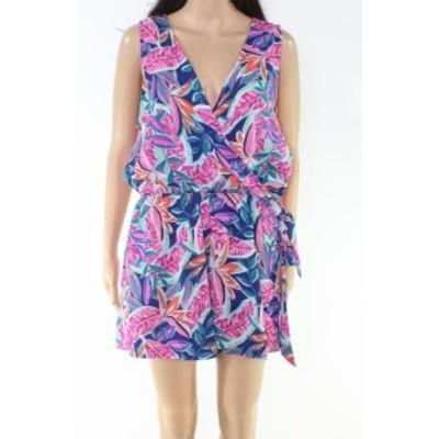 ファッション ジャンプスーツ As U Wish Blue Size XL Junior Floral Print V-Neck Crinkled Romper