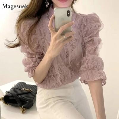 春のメッシュレースブラウス女性韓国シックな新しいパフスリーブセクシーなマイクロスルーシャツファッションスタンドカラーフローラルレディーストップス13457