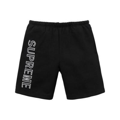 Supreme 2018年春夏 Leg Embroidery sweatshort  ハーフパンツ ブラック
