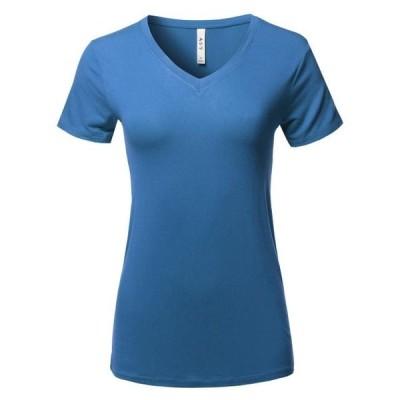 レディース 衣類 トップス A2Y Women's Basic Solid Premium Rayon Short Sleeve V-neck T Shirt Tee Tops Blue Mist S Tシャツ