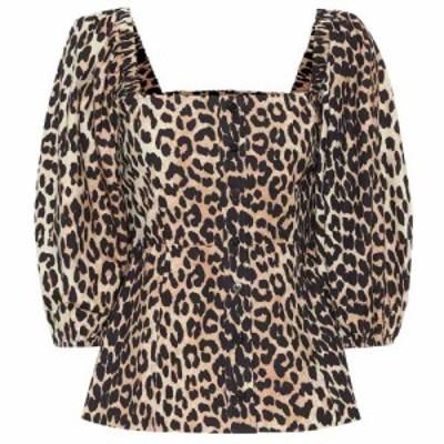 ガニー Ganni レディース ブラウス・シャツ トップス Leopard-print cotton blouse Leopard