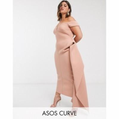 エイソス ASOS Curve レディース ワンピース マキシ丈 ワンピース・ドレス ASOS DESIGN Curve bardot plunge side pep tuck maxi dress i