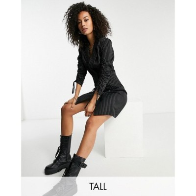 ミスガイデッド Missguided Tall レディース ワンピース ブレザードレス ワンピース・ドレス blazer dress with ruched sleeve in coffee pinstripe ブラック