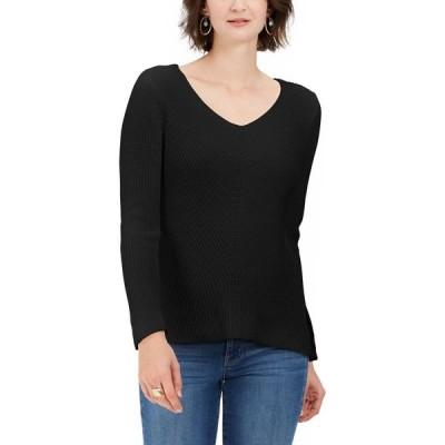 スタイル&コー Style & Co レディース ニット・セーター Vネック トップス Cotton Rib-Knit V-Neck Sweater Deep Black