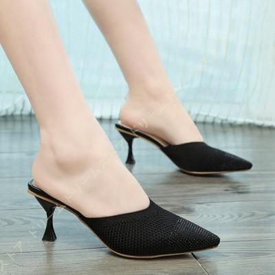 ミュール ハイヒール サンダル レディース 大きいサイズ シンプル パンプス 歩きやすい ポインテッドトゥ 6cm ヒール 痛くない 疲れない 靴 オフィス