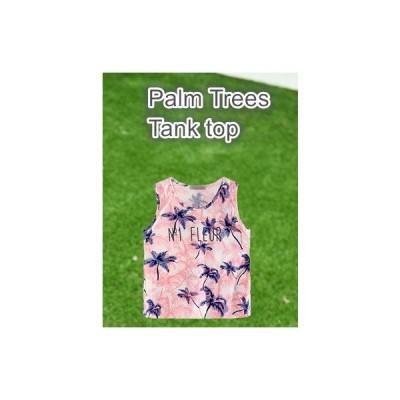 フロント英文字 ロゴプリント ヤシの木柄 ノースリーブ タンクトップ Tシャツ トップス(ピンク)