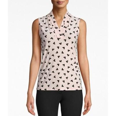 アンクライン レディース シャツ トップス Knit Jersey Pleated V-Neck Sleeveless Top