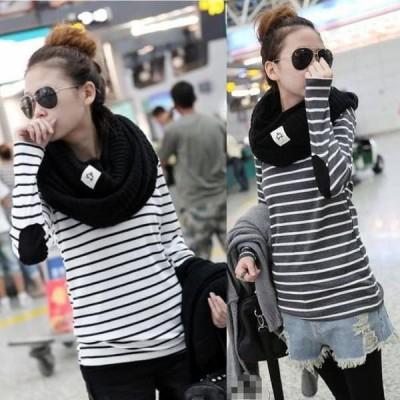 カットソー Tシャツ ボーダー柄 プルオーバー カジュアル 2カラー 長袖