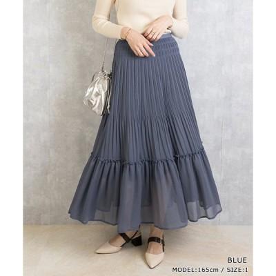 スカート プリーツシフォンスカート