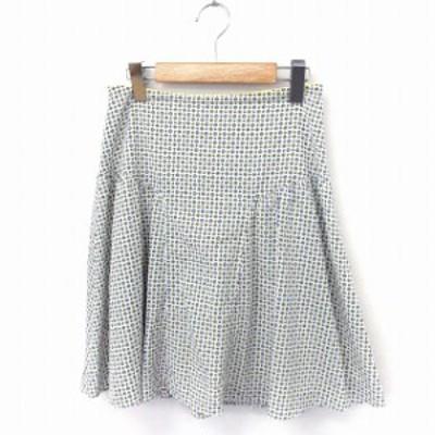 【中古】ユナイテッドアローズ UNITED ARROWS スカート 総柄 フレア ひざ丈 ジップ ホワイト 白 /FT49 レディース