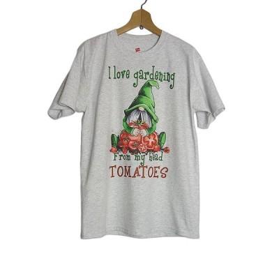 新品・訳あり Tシャツ 妖精ノームとトマト プリントTシャツ デッドストック Hanes ヘインズ アッシュ色 メンズ Mサイズ
