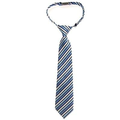 (リトリーズ) RETREEZ レトロ マルチトーンストライプ 織物 マイクロファイバー 作り結び式男児用ネクタイ - ブルー - 4-7歳