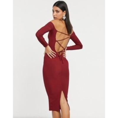 エイソス レディース ワンピース トップス ASOS DESIGN long sleeve strappy rib body-conscious midi dress in wine Wine