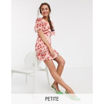 リトルミストレス ミディドレス レディース Little Mistress Petite flutter sleeve mini dress in poppy print エイソス ASOS マルチカラー