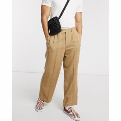 エイソス ASOS DESIGN メンズ ボトムス・パンツ ワイドパンツ high waist wide leg smart trouser in camel herringbone キャメル