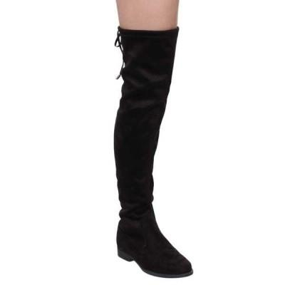 ブーツ シューズ 靴 海外厳選ブランド LILIANA レディース 巾着バッグ Tie Thigh ハイ フラット ヒール ストレッチy ブーツ ブラック グレー BLACK