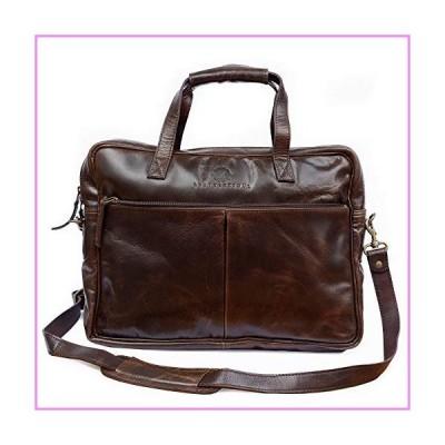 【送料無料】Wall Street Handmade Genuine Buffalo Leather Laptop Messenger Briefcase Bag 16 inch for Men and Women (Antique Brown)【