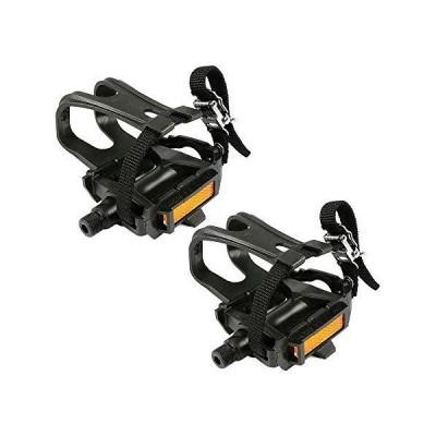 (新品) ZHUANYIYI Bike Pedal,with Clips and Straps Used for Indoor Exercise Bikes,Spinning Bikes and Outdoor 9/16 Inch Aluminum Bike Pe