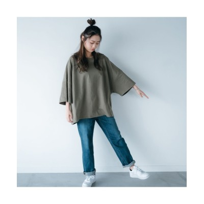 (HANGAA/ハンガー)Tシャツ カットソー レディース 秋冬 秋 部屋着 グ 楽ちん ビッグT BIGSIZE ビッグサイズ 大きめシルエット/レディース オリーブ