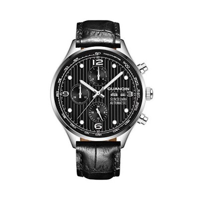 Guanqin Men's Date Luminous Watches Analogue Automatic Self Winding Mechanical Wrist Watch with Leather Band (Silver Black) 並行輸入品