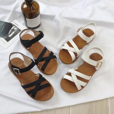 サンダルレディース歩きやすい痛くないぺたんこフラットソールローヒール春夏オープントゥフラットサンダルビーチサンダルレディースシューズ靴
