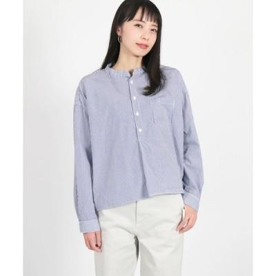 シャツ ブラウス [D.M.G. / ディーエムジー] ブロードストライプスタンドカラーシャツ