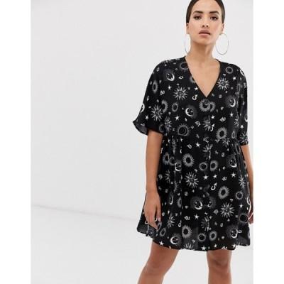 エイソス レディース ワンピース トップス ASOS DESIGN v neck button through mini smock dress in zodiac print