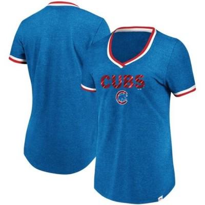 レディース スポーツリーグ メジャーリーグ Chicago Cubs Majestic Women's Driven By Results V-Neck T-Shirt - Royal Tシャツ