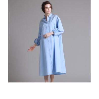 コットンバルーンスリーブシャツドレス