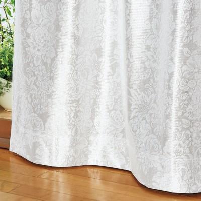 ベルーナインテリア 一年中お役立ちエコレースカーテン「エコファイン」 フラワー フラワー 約幅100×丈108cm レディース