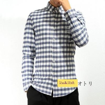 チェックシャツ 長袖シャツ メンズ スリムシャツ 開襟シャツ ボダンダウンシャツ ルームウェア カジュアル トップス 夏 秋
