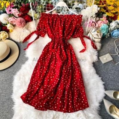 レディースファッション OCEANLOVE韓国ドットVestidos 2020オフショルダーAラインエレガントな夏のドレスの女性の