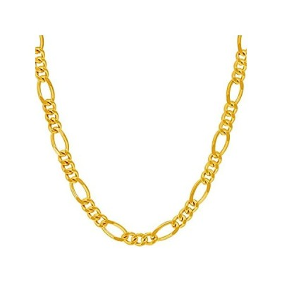 Lifetime Jewelry 5.5mm Rounded Figaro Chain Necklace for Men & Women 24k Go好評販売中